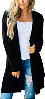 Women's Long Sleeve Open Front Hoodie Knit Sweater Cardigan with Pockets