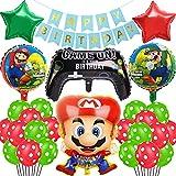 Globo de Super Mario Banner de Happy Birthday Globo Redondo 27 Piezas Globo de Foil Super Mario Decoración para Fiestas de Cumpleaños