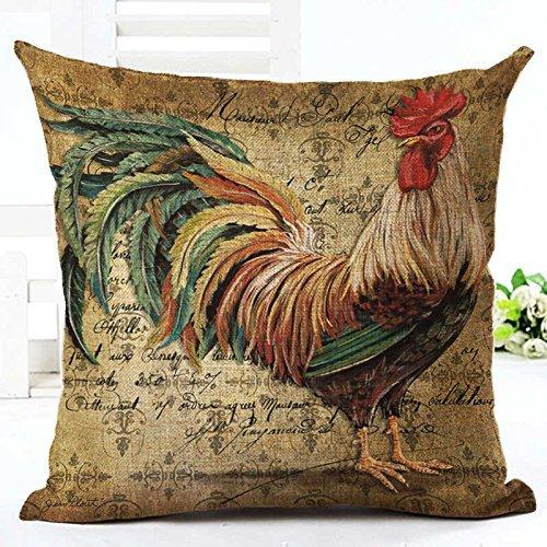 Dana34MaloryVintage Mr Cock Hen - Funda de Almohada de Lino y algodón, diseño de Gallo para Dormitorio o decoración del hogar, 40,6 x 40,6 cm, diseño 2