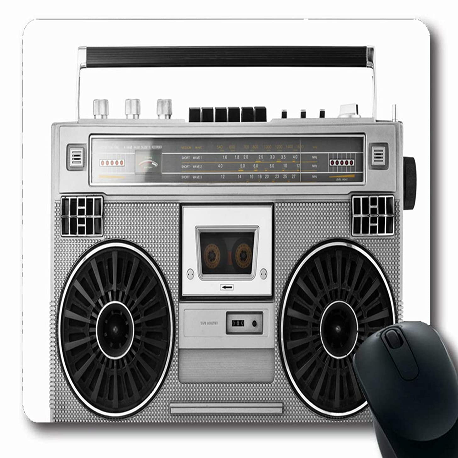 Ahawoso Mousepads Studio Stereo Silver Retro Ghetto Blaster Audio Boombox Hip Vintage Box Boom Radio Old 80S Design Oblong Shape 7.9 x 9.5 Inches Non-Slip Gaming Mouse Pad Rubber Oblong Mat