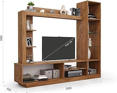 Meubles de salon FLEX |Couleur : blanc mat/or - Dimensions : (l x H x P) : 200 x 180 x 42 cm - Matériau : bois de placage - E