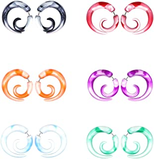 CrazyPiercing 12Pcs Fake Tapers Acrylic Ear Gauge Spiral Earrings Studs Stretcher Piercing Taper 20G