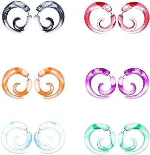 12Pcs Fake Tapers Acrylic Ear Gauge Spiral Earrings Studs Stretcher Piercing Taper 20G