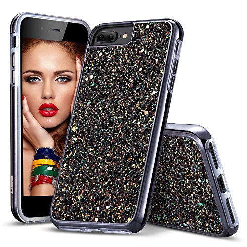 Dgtek iPhone 8 Plus Case for Women, iPhone 7 Plus Case for Girls, Protective Glitter Bling Hybrid Heavy Duty Sparkle Dual Layer Hard PC + Soft TPU for Apple iPhone 6S/6/7/8 Plus Black