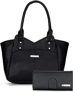 Aisna Women's Combo Handbag & Clutch(Black)