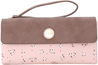 OIDERY Leather Wallets for Women Bifold Floral Ladies Clutch Wristlets Zipper Coin Purses Large Capacity
