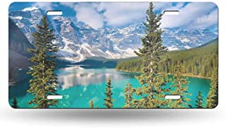 dsdsgog Product Express Landscape,Moraine Lake Rocky Mountains Canada Summer Forest Tall Fresh Trees Image,Aqua Blue Green 12x6 inches,Universal Fit for Cars