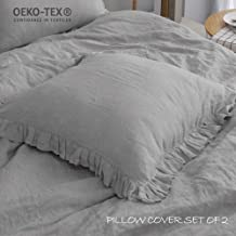Simple&Opulence 100% Linen Stone Washed Euro Sham with Ruffle 26x26 Inch Pillow Cover Set of 2(Grey, 26