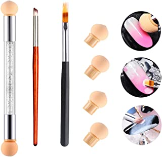 3Pcs Nail Gradient Sponges Brush Pens Kit, AKWOX 3 Differents UV Gel Nail Art Brush Gradient Ombre Brushes Double Head Nai...