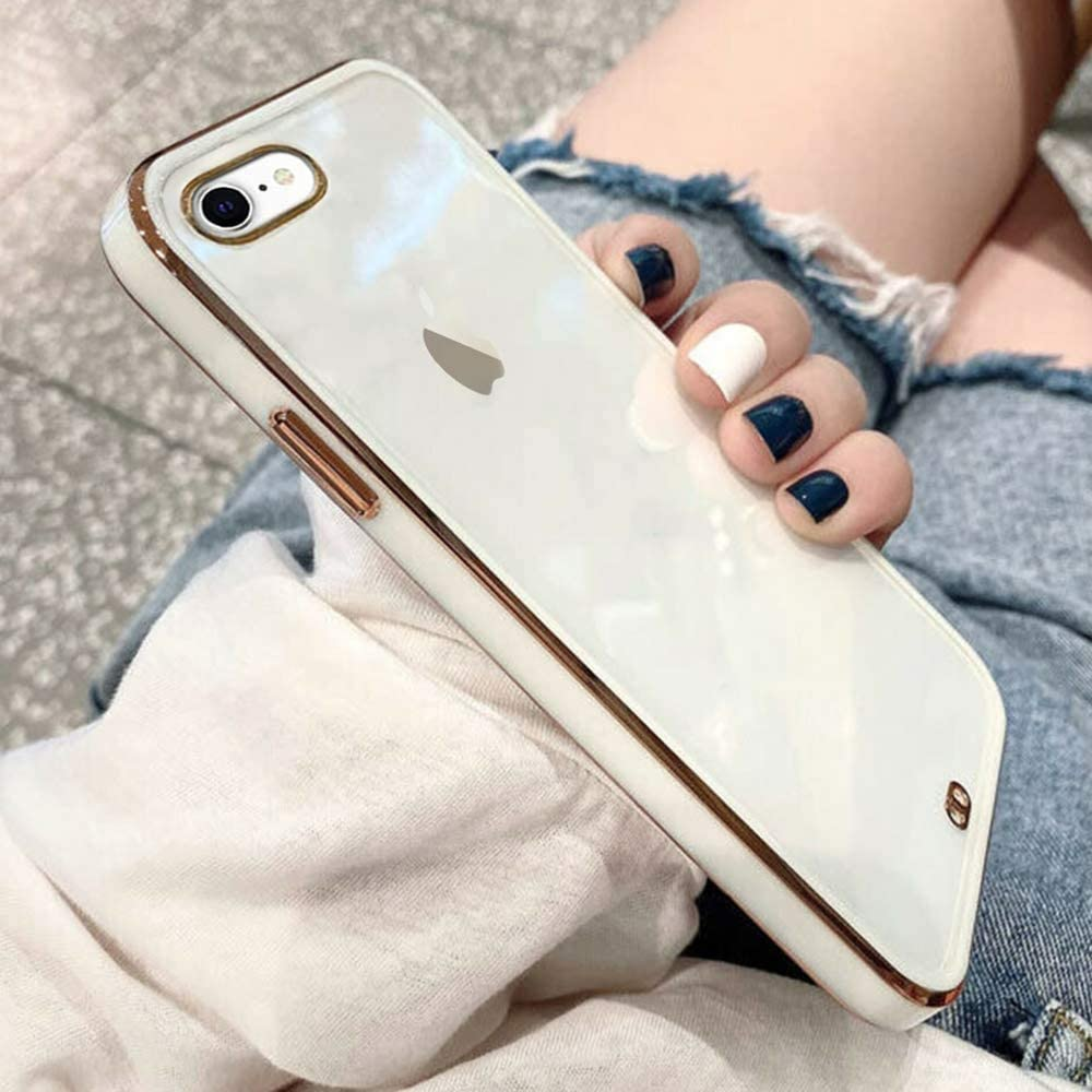 ZTOFERA Clear Case for iPhone 7 iPhone 8 iPhone SE 2020,Silicone Transparent Back Soft TPU Bumper Shockproof Gold Edge Slim Phone Cover for iPhone 7 iPhone 8 iPhone SE 2020 White