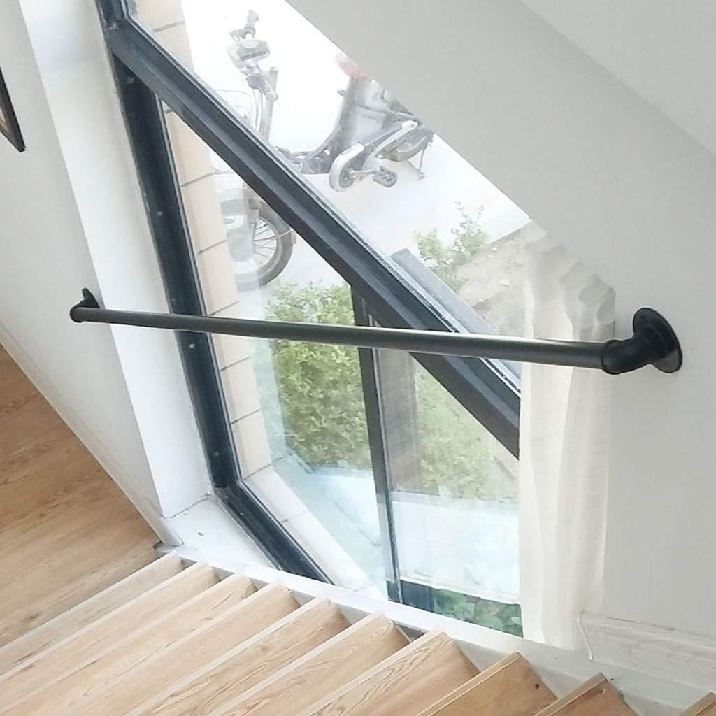 Negro Pasamanos para escaleras de Hierro Forjado para Soporte de Paredes Conjuntos | Barandilla Escalera Interior Exterior | Balaustrada Tubería de Agua Industrial: Amazon.es: Hogar