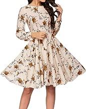 Women's Floral Vintage Dress Elegant Midi Evening Dress 3/4 Sleeve Long Sleeve A-Line Party Cocktail Swing LIM&Shop
