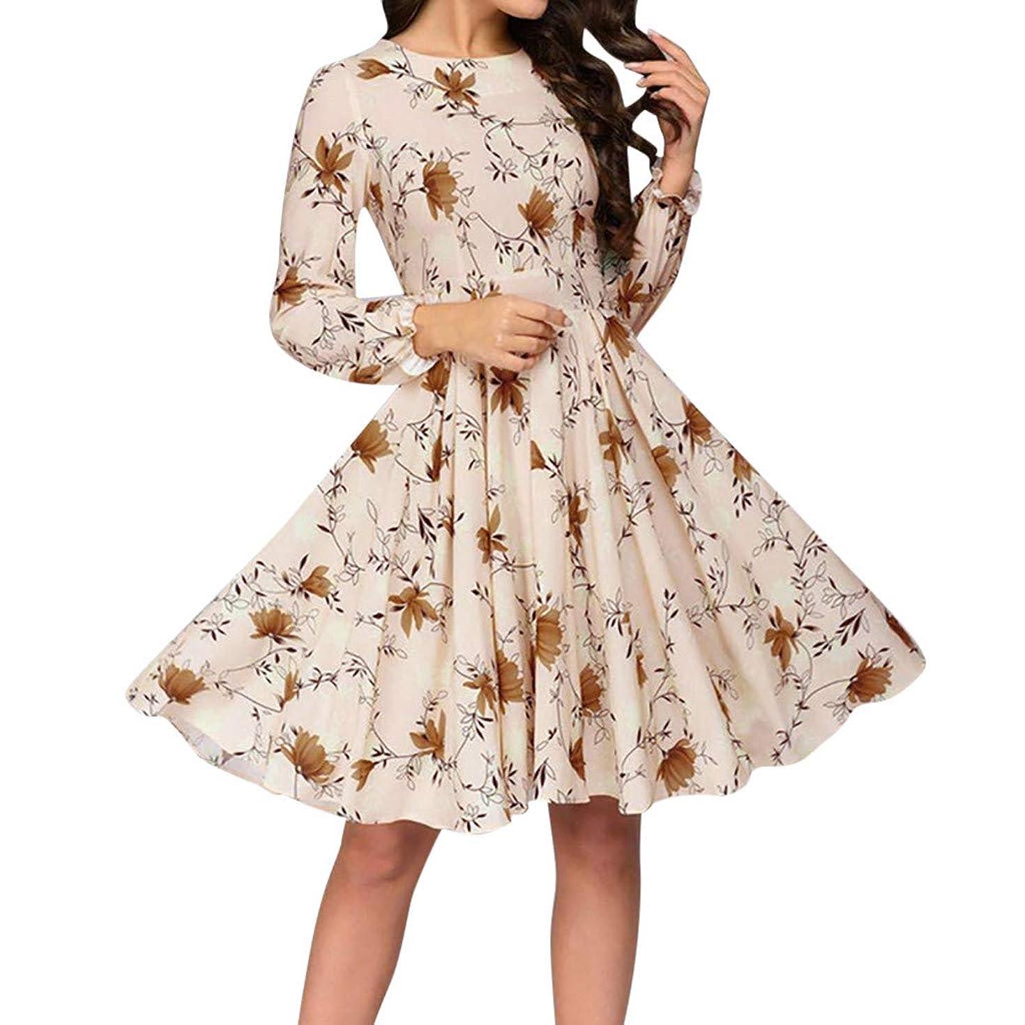 Summer Plain Dress, Tronet Women Printing A-line Elegant Ruffles Long Sleeve Knee-Length Vintage Dress
