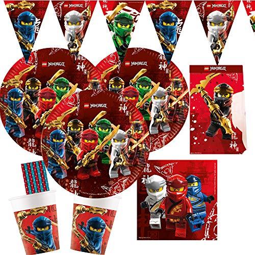 spielum 53-teiliges Party-Set Lego Ninjago - Teller Becher Servietten Wimpelkette Partytüten Papiertrinkhalme für 8 Kinder