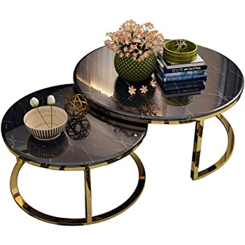 Muzi Coffee Table Modern White Black Round Living Room Small Coffee Table Sitting Table Marble Light Coffee Table For Home Living Room Amazon De Kuche Haushalt