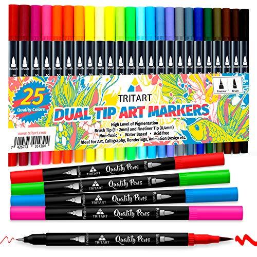 Tritart Hochwertige Dual Brush Pens Pinselstifte Set I 25 Filzstifte Dicke & Dünne Seite I Universal Doppel Fineliner mit Farben auf Wasserbasis I Dual Tip Marker für mehr Spaß an Kreativität