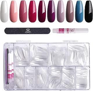 Makartt False Nail Set with 500pcs Coffin Nail Tips Clear Full Cover 4pcs Nail Glues 1pcs Nail File with Case Press On Nails for Poly Nail Gel Acrylic Nail Kit A-15