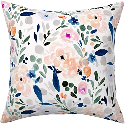 Amazon Com Roostery Throw Pillow Watercolor Spring Pink And Blue Floral Flower Pastel Navy Grey Print Linen Cotton Canvas Knife Edge Accent Pillow 18in X 18in Optional Insert Home Kitchen