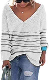 Women's Striped V-Neck Long Sleeve Knit Sweater Casual Pullover Jumper