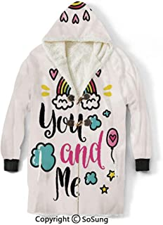 Inspirational Blanket Sweatshirt,You and Me Quote with Rainbow Clouds and Hearts Love Romance Doodle Print Decorative Wearable Sherpa Hoodie,Warm,Soft,Cozy,XL,for Adults Men Women Teens Friends,Multi