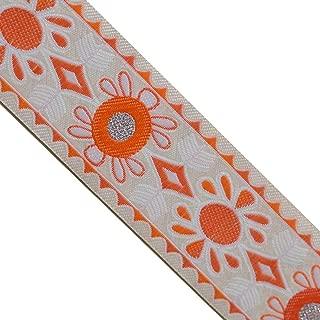 JL 367 Jacquard Coral Sunny Silver Metallic dots Woven Ribbon Trim 1-1/2