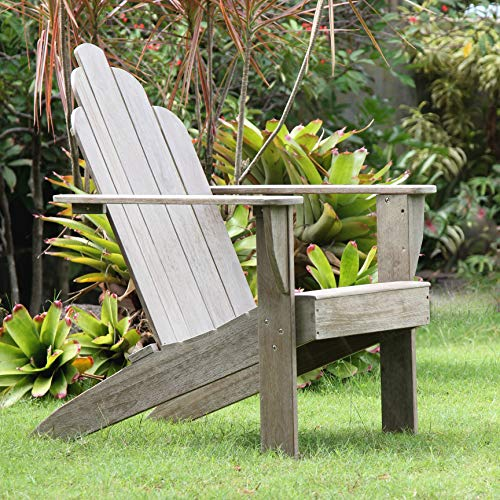 Cambridge Casual Superior Indonesian Solid Teak Wood Adirondack Chair, Weathered Gray