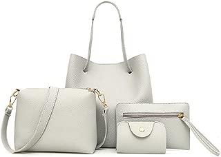 4 PCS Borse Donne Moda,MEIbax4 Pezzi Donna Modello in Pelle Borsa Tracolla + Crossbody Bag + Borsetta + Portafoglio