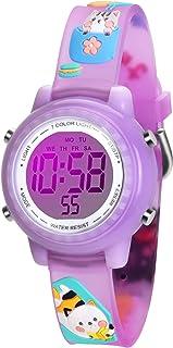 WUTAN Watches for Girls Boys Adorable Wrist Watch Girl Sport Waterproof Wrist Watches for Kids Children (cat Purple)