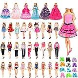 Festfun 18 PCS Vêtements & Accessoires 2 Robes Chic + 2 Tenues(Top+ Pantalons) + 2 Robes de soirée + 2 Maillots de Bain Bikini avec 10 Chaussures pour Poupée Fille de 11,5 Pouces