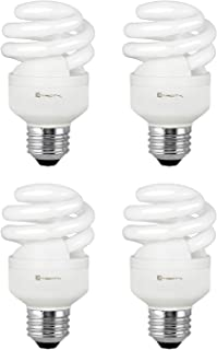 Compact Fluorescent Light Bulb T2 Spiral CFL, 2700k Soft White, 9W (40 Watt Equivalent), 540 Lumens, E26 Medium Base, 120V, UL Listed (Pack of 4)