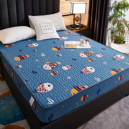N / A King Size Fitted Extra Deep ,Children's room waterproof and breathable bedspread, thick dustproof mattress protector-fish_200cmx220cm