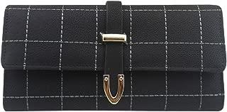 Cckuu Faux Leather Trifold Wallets Clutch Handbag Vintage Women's Blocking Purse