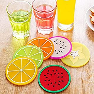 Coin Bag Plastic with Best Design, 6pcs Colorful Drink Holder Jelly Color Fruit Shape Coasters Creative - Silicone Fruit, Easter Potholder, Freezing Tray, Cool Bag, Easter Pot Holders