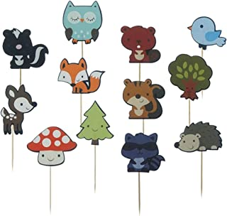 Shxstore Woodland Creatures Theme Cupcake Toppers Forest Animals Friends Cake Toppers Picks for Birthday Wedding Party Dec...