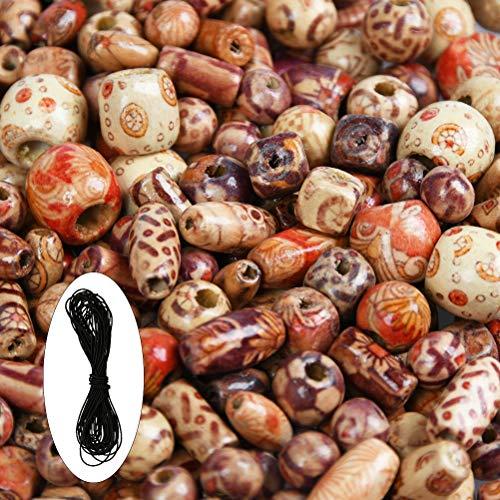 YANSHON Perle Legno Perline per Capelli 500pz con Corda, 9 Forme Perline di Legno Stampato Varie Forme Perline di Legno Sciolto per Gioielli Fare DIY Collana Braccialetti Capelli Mestieri Bigiotteria