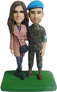 soldato e sua moglie fidanzata cake topper matrimonio dolce cuore memorial figurine design da foto anniversario souvenir r...
