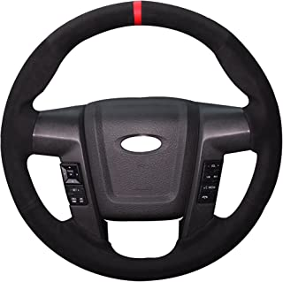 Xuji Hand Sewing Black Suede Genuine Leather Steering Wheel Cover for Ford F-150 F150 SVT Raptor 2010 2011 2012 2013 2014