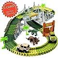 Newlia Race Track Dinosaur Create A Road 2 Toy Cars 2 Dinosaurs 142 Piece Flexible Track Train Playset