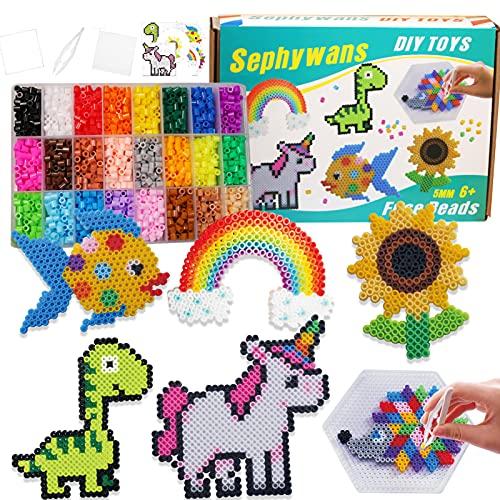 Sephywans perline da stirare, 4800Pcs 5mm 24 Colori Perline a Fusione Set per Fare Artigianato per Bambini, Kit di Arte e Artigianato per Bambini Set di Perline con Carte di Modelli, Tavole di legno