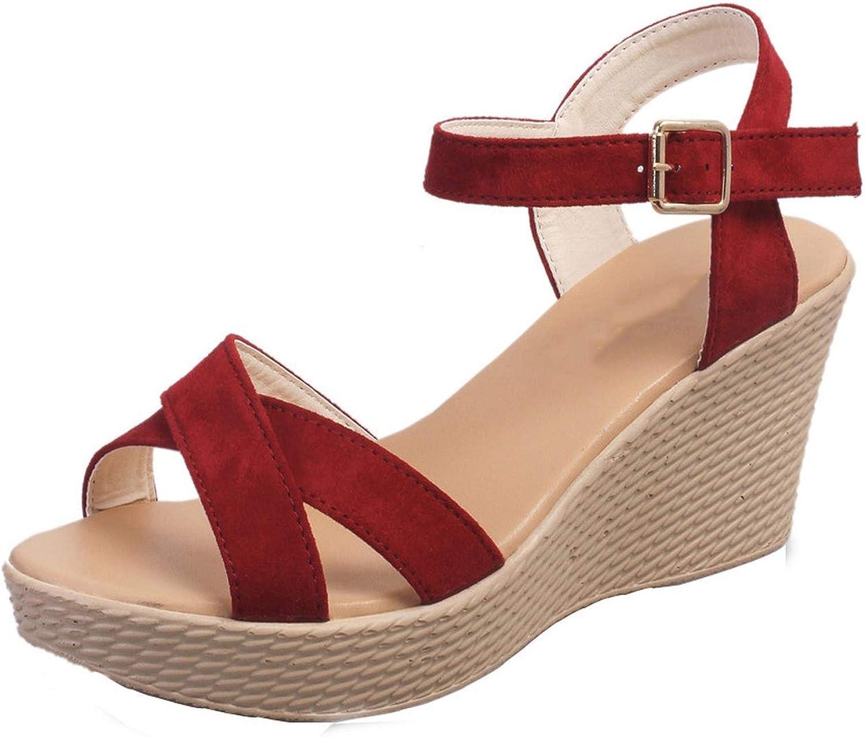 Women Fish Mouth Non-Slip Platform Slope High Heels Sandals Buckle Strap shoes women Sandals