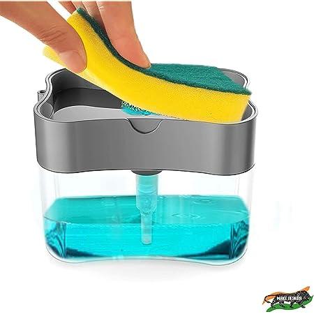 E-COSMOS Soap Dispenser for Dishwasher Liquid Holder , Liquid Dispenser Through Pump ( Multi-Color , 400 ML) with Sponge (Grey)