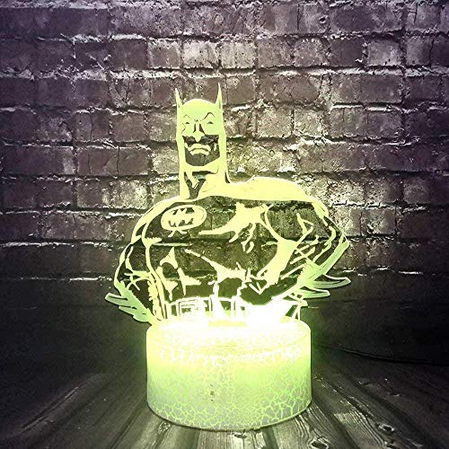 Dalovy Festival Dc Legend Justice League Batman Body Lighting Led 3D Optical Cartoon Table Lamp With Usb Remote Control 7 Color Changing Night Light For Kids Room Mood Illusion Lava