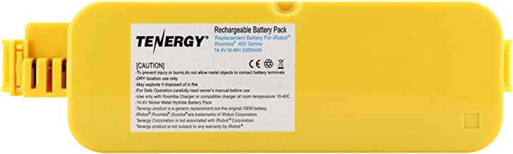 Tenergy Replacement Battery for iRobot Roomba 400 410 415 4000 4100 4110 4130 4150 4170 4188 4210 4220 4225 4230 4232 4260 Vacuum Cleaner, 14.4V 3300mAh Advanced Power System (APS) NiMH Roomba Battery