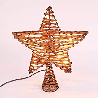Brizled Christmas Tree Topper, 12-inch Rattan Star Treetop with 10 Warm White Lights, 120V UL Certified Xmas Tree-top Star Lights for Christmas Tree Ornament Indoor Party Home Decoration