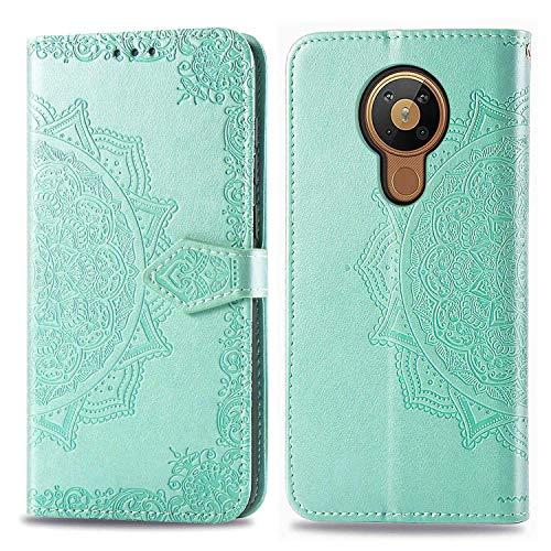 Bear Village Hülle für Nokia 5.3, PU Lederhülle Handyhülle für Nokia 5.3, Brieftasche Kratzfestes Magnet Handytasche mit Kartenfach, Grün