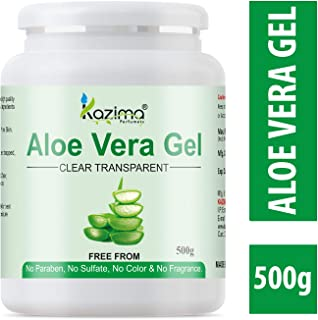 KAZIMA Aloe Vera Gel Raw - 100% Pure Natural Gel - Ideal for Skin, Face, Acne Scars, Hair Care, Moisturizer & Dark Circles (500 Gram)