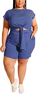 Aro Lora Womens Plus Size Shorts Set 2 Piece Outfits Striped Tie Knot Crop Top and Pant Jogger Suit Tracksuit