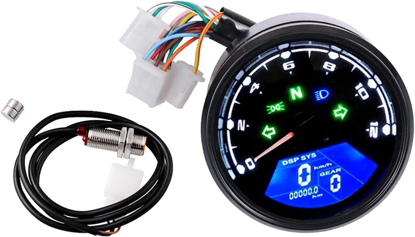 #N Omaha Mall A Super intense SALE Universal Motorcycle Speedometer B Tachometer Odometer with