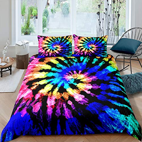 Tie-Dye Duvet Cover Set Colorful BohoPsychedelicSwirlPrintComforter Cover for Kids Boys Girls Teens Hippie Bohemian Gypsy Bedding Set Decor 3Pcs Bedspread Cover With 2 Pillowcase Double