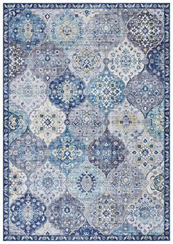 Elle Decor Design Teppich orientalisch Kashmir Ghom Wohnzimmerteppich (120 x 160 cm, 100% Polyester, Fußbodenheizung geeignet, robust, einfache Reinigung), Jeansblau